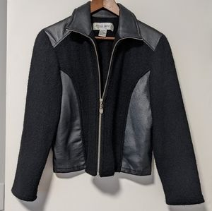 Black Leather and Wool Zip Collared Jacket